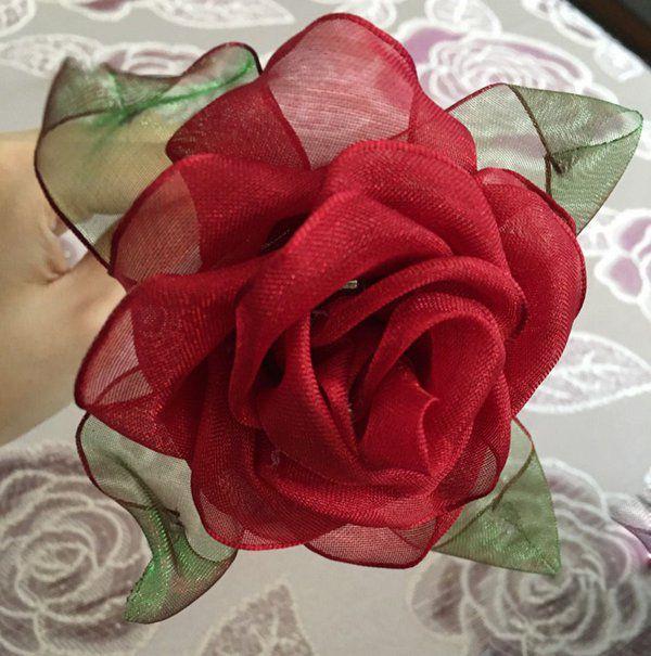 逼真的丝带玫瑰花制作步骤