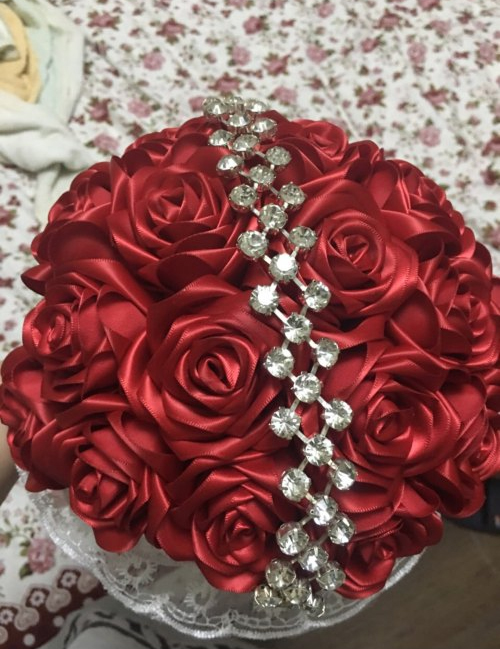 丝带diy手捧玫瑰